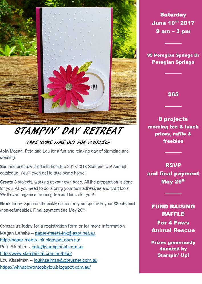 Stampin Day Retreat & Fundraiser @ Purple Copper | Peregian Springs | Queensland | Australia